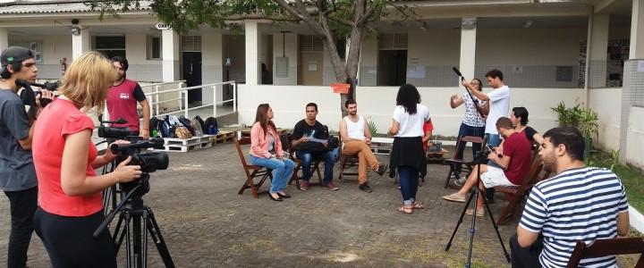 Aula pratica na Praça Conviver de Eventos do Curso de RTV matutino